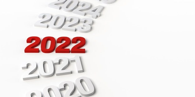 Banner abstracto del año 2022. nochevieja. copie el espacio. ilustración 3d.