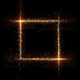 Banner en blanco partícula de oro fondo negro. representación 3d ilustración 3d.