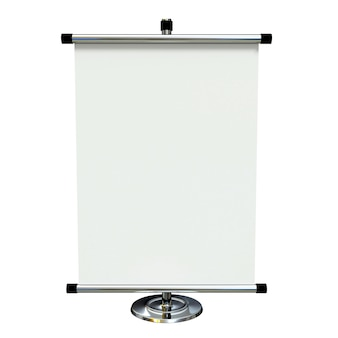 Banner en blanco stand aislado sobre fondo blanco.