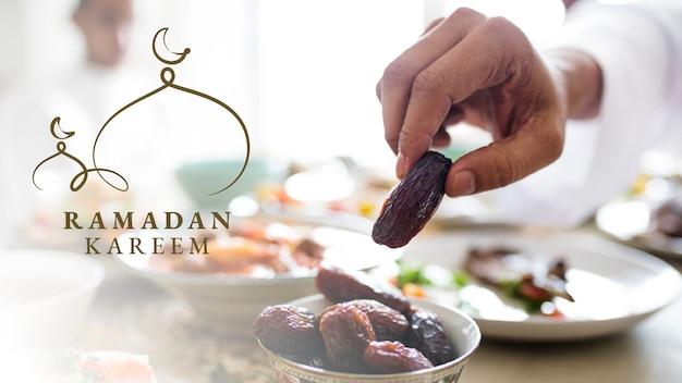 Banner de blog de ramadán kareem con saludo