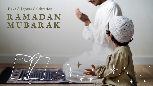 Banner de blog de ramadán mubarak con saludo