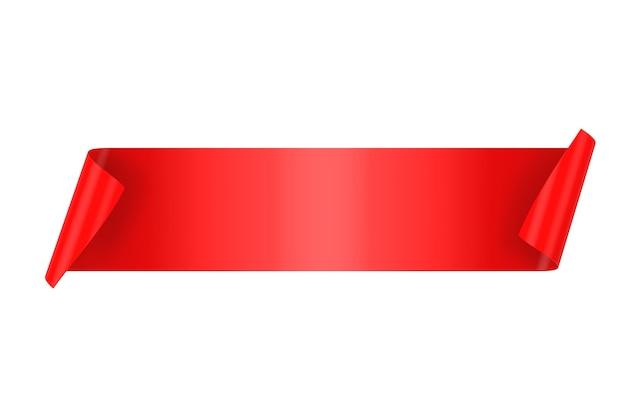 Banner de cinta de raso rojo en blanco con copyspace para el suyo diseño sobre un fondo blanco. representación 3d