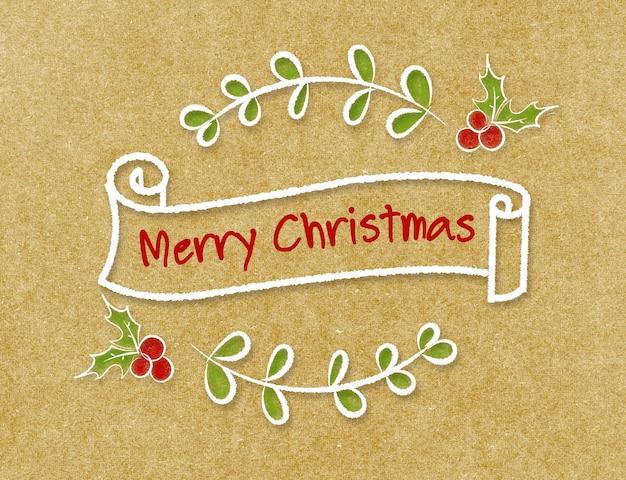 Banner de cinta vintage merry christmas en estilo doodle en papel artesanal