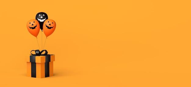 Banner de compras de halloween con caja de regalo y globos de calabaza ilustración 3d espacio de copia