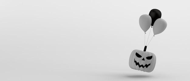 Banner de compras de halloween con calabaza blanca y globos ilustración 3d espacio de copia
