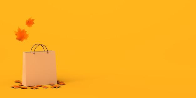 Banner de compras de temporada de otoño bolsa de compras con hojas secas y caídas ilustración 3d