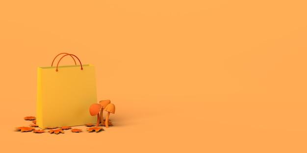 Banner de compras de temporada de otoño bolsa de compras con setas hojas secas y caídas ilustración 3d