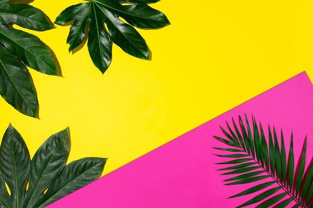 Banner creativo con hojas tropicales sobre fondo de colores vibrantes geométricos. folleto para anuncio. diseño de tarjetas de invitación, volantes. plantillas de diseño abstracto para carteles, portadas, fondos de pantalla.