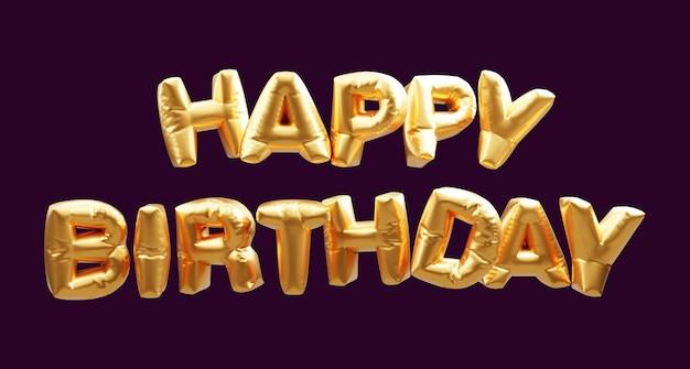 Banner de felicitación de feliz cumpleaños con fuentes de globo de oro 3d.