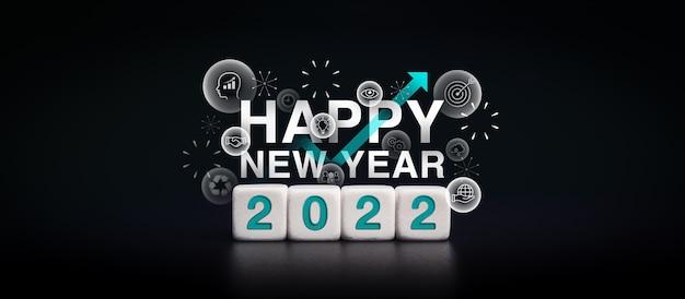 Banner de feliz año nuevo 2022 con concepto de éxito de los iconos de estrategia empresarial. los números azules de 2022 en bloques de dados blancos con flechas ascendentes y fuegos artificiales sobre fondo oscuro, estilo moderno y minimalista.