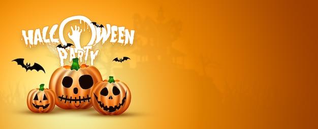 Banner de feliz halloween. imagen realista de una calabaza naranja sobre un fondo naranja.