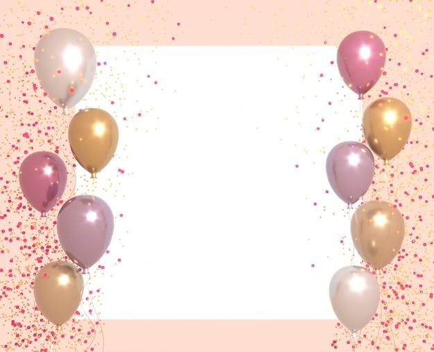 Banner de fiesta con globos sobre fondo brillante y lugar para el texto. tarjetas de feliz cumpleaños en una superficie blanca. concepto de decoración de representación 3d festivo o presente.