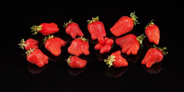 Banner con fresas orgánicas feas. muchas bayas maduras