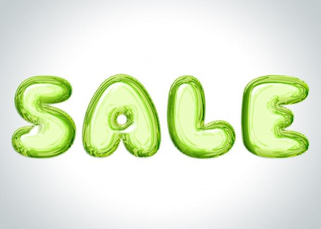Banner gris claro con letras de globos verdes diciendo venta
