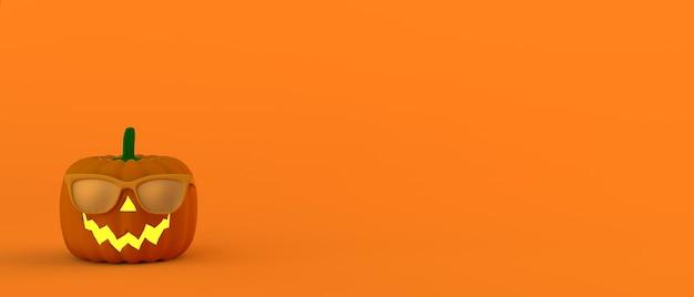 Banner de halloween. calabaza linterna con gafas de sol. ilustración 3d. fiesta de terror. copie el espacio.