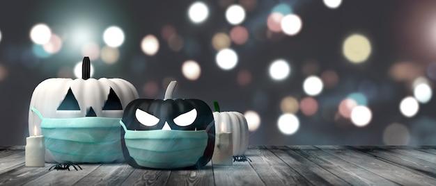 Banner de halloween calabazas jack o lantern en blanco y negro con mascarilla quirúrgica espacio de copia