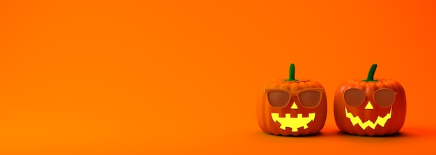 Banner de halloween calabazas de linterna con gafas de sol ilustración 3d fiesta de terror espacio de copia