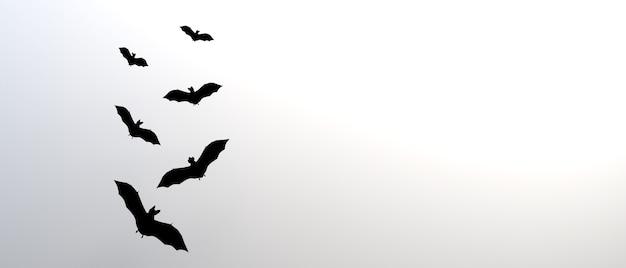 Banner de halloween con murciélagos ilustración 3d