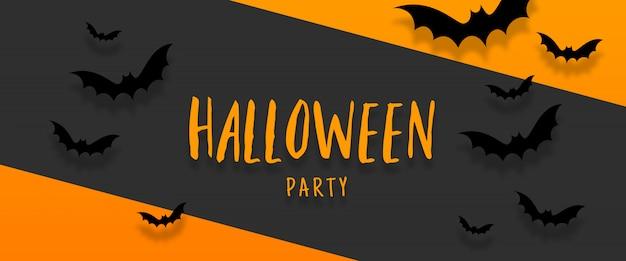 Banner de halloween con murciélagos volando sobre fondo naranja