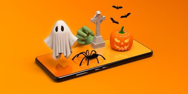 Banner en línea de halloween con smartphone zombie grave fantasma y calabaza ilustración 3d