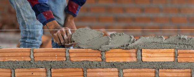 Banner de mano de primer plano profesional trabajador de la construcción.