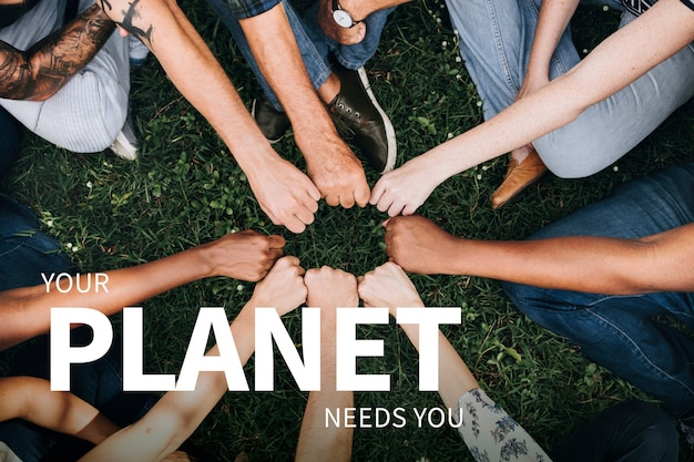 Banner de medio ambiente con manos de personas salvando el planeta.