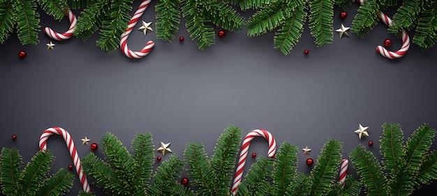 Banner de navidad con adornos de temporada