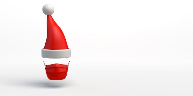 Banner de navidad fondo de navidad con gorro de papá noel con mascarilla quirúrgica navidad segura