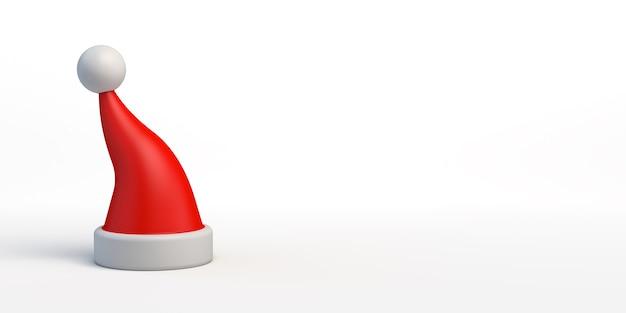 Banner de navidad fondo de navidad con ilustración 3d de sombrero de santa