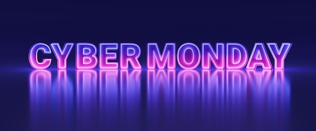 Banner de neón brillante colorido cyber monday, cartel de promoción de venta de tienda de compras en línea futurista con ilustración 3d de estilo de luz de espejo infinito
