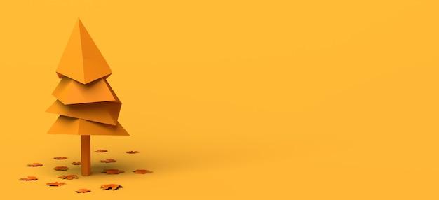 Banner de otoño con árbol y hojas secas caídas sobre fondo amarillo ilustración 3d espacio de copia