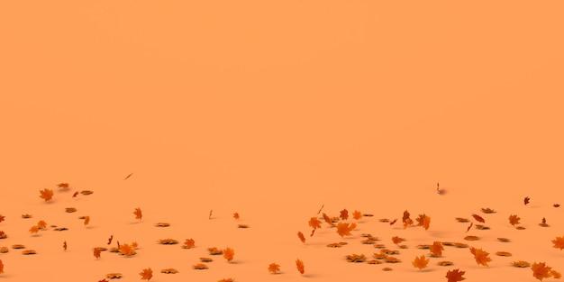 Banner de otoño con hojas caídas en el suelo. copie el espacio. ilustración 3d. encabezamiento.