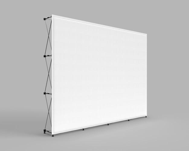 Banner de pared exposición de tela pared gráfica de la feria comercial aislada sobre un fondo gris
