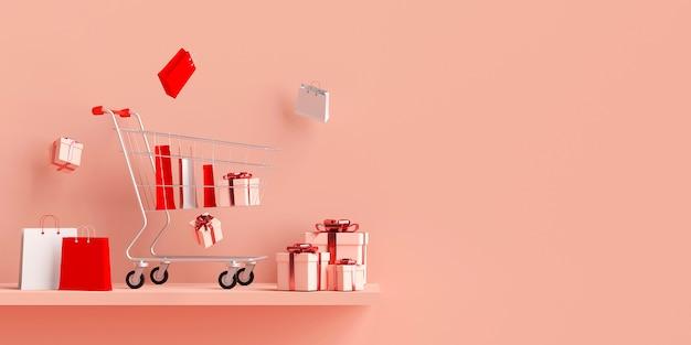 Banner de publicidad comercial con carrito de compras, renderizado 3d