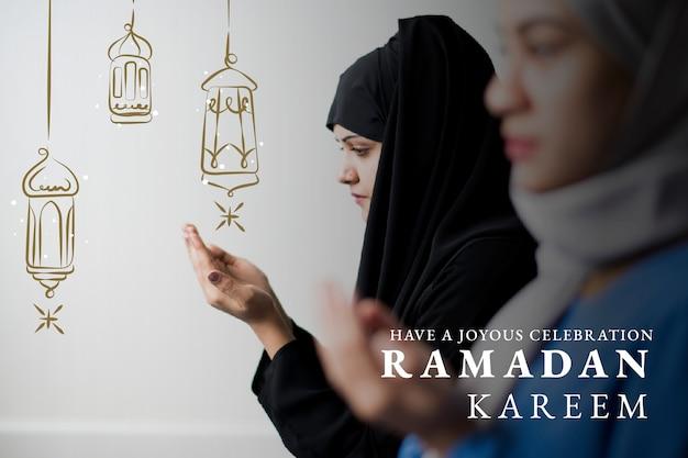 Banner de ramadán kareem con saludo