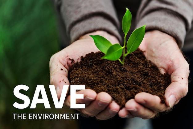 Banner de redes sociales de medio ambiente con salvar el medio ambiente.
