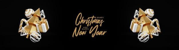 Banner de render 3d de navidad de lujo o tarjeta de felicitación. decoración minimalista moderna de año nuevo y navidad en oro y negro con árbol, caramelo, bola, caja de regalo sobre fondo negro