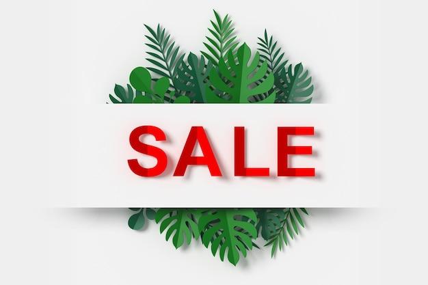 Banner de venta con corte de papel y hojas verdes artesanal de papel floral