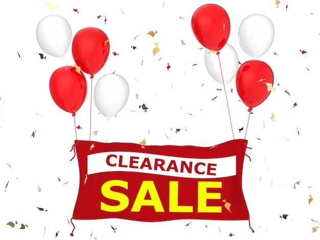 Banner de venta de liquidación renderizado en 3d con banner de tela roja, globos rojos y confeti