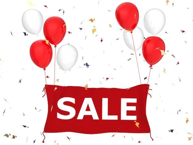 Banner de venta de representación 3d en tela roja con globos rojos y fondo de confeti