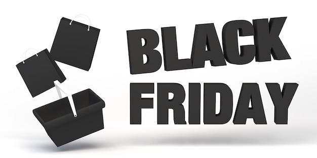 Banner de viernes negro con bolsas de la compra. ilustración 3d.