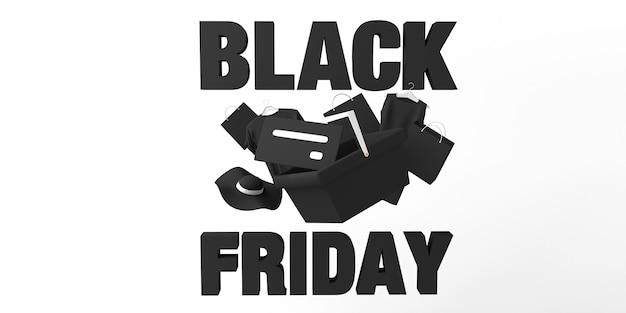 Banner de viernes negro con carrito de compras, tarjeta de crédito y ropa. ilustración 3d.