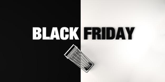 Banner de viernes negro con fondo de carrito de compras para promoción publicitaria venta ilustración 3d