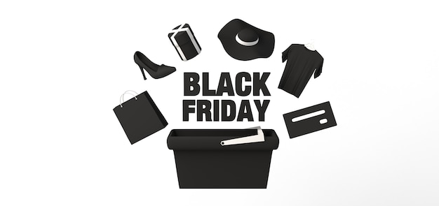 Banner de viernes negro con smartphone, bolsas de compras, tarjetas de crédito y regalos. ilustración 3d.