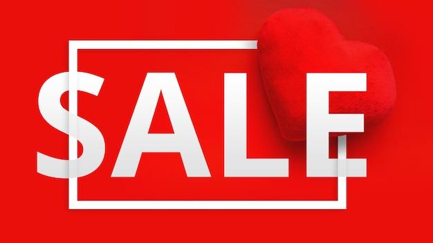 Banner de web de promoción de venta de feliz día de san valentín. vista superior de la composición con corazones sobre fondo rojo. oferta de descuento de temporada: venta de febrero