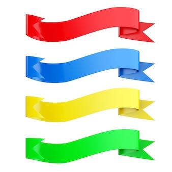 Banners de cinta multicolores decorativos sobre un fondo blanco. representación 3d.