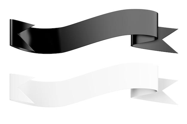 Banners decorativos de cinta en blanco y negro sobre un fondo blanco. representación 3d.