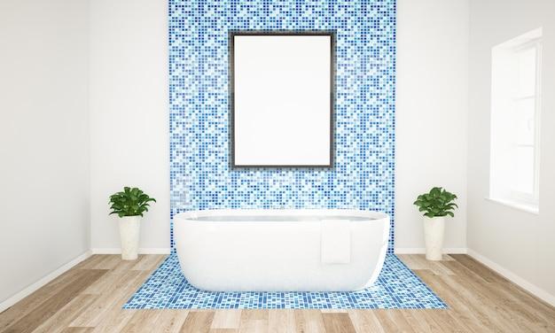 Baño azul y blanco con maqueta de póster