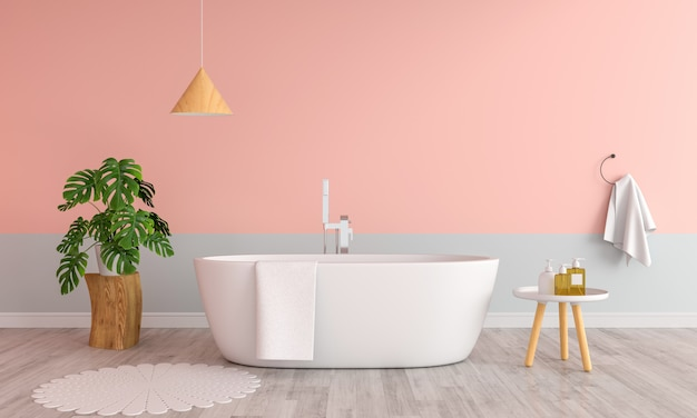 Baño de baño interior con bañera rosa.