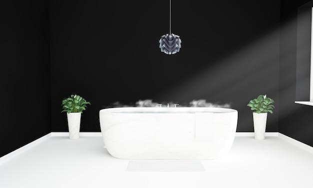 Baño blanco y negro listo para tomar un baño caliente.